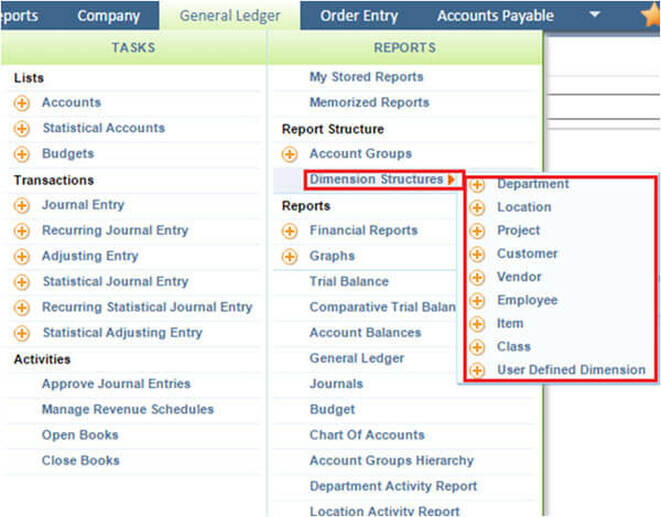 Intacct Dimensions Group Structure