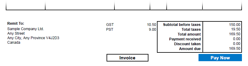 sage 300 pay now button on invoice
